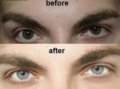 Before and after lightening eye color d